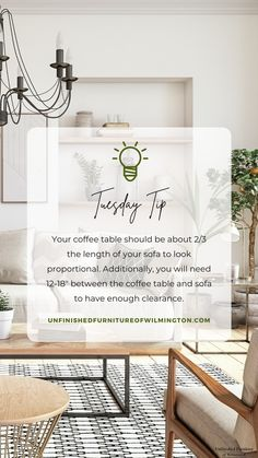 To look proportional, your coffee table should be about 2/3 the length of your sofa. If you have a sofa with a chaise, measure only the sofa portion. You will also want to factor in 12-18 inches of clearance between the coffee table and the sofa to make sure there is enough room to walk without feeling like you have to reach to use the table. Like and follow for more tips! #TuesdayTip #Furniture #Wood #DIY #UnfinishedFurnitureofWilmington Unfinished Furniture, Solid Wood Furniture, Accent Furniture, Home Furniture, Sofa, Coffee, Tips, Table, Home Decor