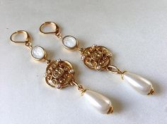 4279177b967 Dainty and elegant Tudor inspired handmade assemblage earrings featuring  handmade small oval gold and pearl resin