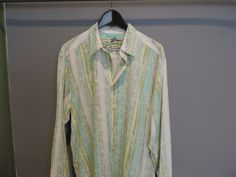 Tommy Bahama Designer Multi Color Silk/Cotton Long Sleeve Casual Shirt XL Mint #TommyBahama #ButtonFront