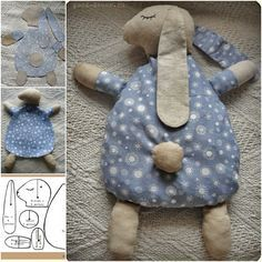 How to DIY Cute Bunny Pillow from Free Template | FabArtDIY.com  #Crafts, #Sew