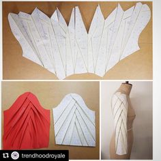 Sleeve drafting inspiration courtesy of Just amazing!TR Cutting Masters from around the world - The Shapes of Fabric Techniques Couture, Sewing Techniques, Dress Sewing Patterns, Clothing Patterns, Skirt Patterns, Coat Patterns, Blouse Patterns, Blouse Designs, Sewing Sleeves