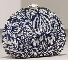 Judith Leiber handbags. Damask Curved Clutch.