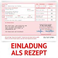 #Einladungskarten als ärztliches #Rezept in Rosa. Mit eigenem Text! Auf http://www.kartenmachen.de/shop/einladungskarten-zum-geburtstag/einladungskarte-als-rezept-rosa.html