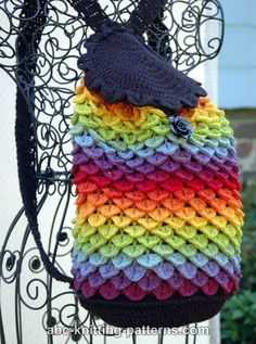 "Free pattern for ""Rainbow Dragon Backpack"" from ABC Knitting Patterns!"