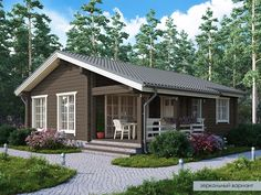 Cottage Style House Plans, Bungalow House Design, House Front Design, Small House Design, Small House Plans, Cottage Homes, Tan House, Architectural Design House Plans, House On Stilts