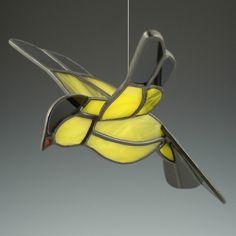 3D Gold Finch Suncatcher Stained Glass Bird