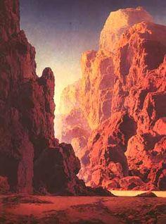 Arizona (first version) by Maxfield Parrish - Art Renewal Center Online Gallery, Art Gallery, Maxfield Parrish, Inspirational Artwork, Landscape Paintings, Landscapes, Sea Paintings, Landscape Rocks, Art Plastique