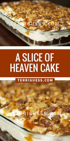 Slice of Heaven Cake ~Cake mix, caramel topping, condensed milk, cool whip, 5 candy bars? I bet you have them all! Cake Mix Desserts, Cake Mix Recipes, No Bake Desserts, Easy Desserts, Delicious Desserts, Dessert Recipes, Yummy Food, Twinkie Cake Recipes, Cake Mixes