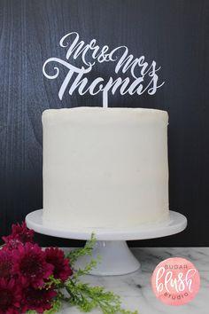 Personalized Mr & Mrs Wedding Cake Topper by SugarBlushStudio