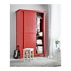 HEMNES Kleiderschrank mit 2 Schiebetüren, rot - 120x197 cm - IKEA