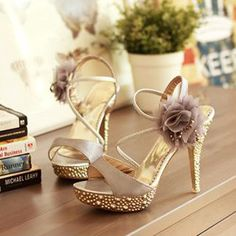 Beautiful Flower Embellishment Metal High Heel Evening Party Sandals