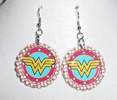 Wonder Woman Super Hero Bottle Cap Earrings  | eBay