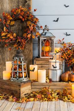 Fill Lanterns With Pumpkins And Other Fall Pieces For An Easy DIY Decor Idea .