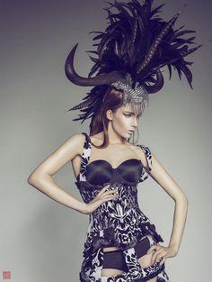 CLEARANCE Wildebeest horn feather mohawk Futuristic gaga halloween rocker Cleopatra Egyptian Fantasy headdress headpeice wig