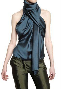 Haider Ackermann Scarf Collar Silk Shantung Top in Blue (petrol) paired with miss green silk pants Look Fashion, Fashion Details, High Fashion, Womens Fashion, Fashion Design, Super Moda, Look Chic, Look Casual, Business Outfit