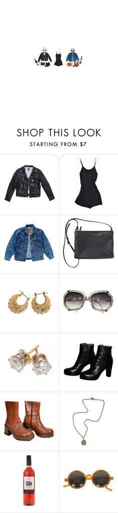 """""""Day to Night: Romper"""" by skycastle ❤ liked on Polyvore featuring Levi's, SOLD Design Lab, Urban Outfitters, French Kande, DayToNight, leatherjacket, Jeanjacket, romper and WardrobeStaples"""