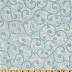 """Normandy Court 108"""" Quilt Backing Scrolling Vines Light Blue/White"""