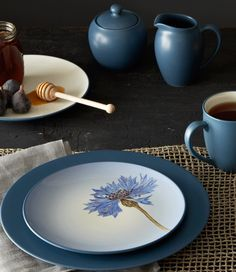 Colorwave Blue, featuring the Floral Accent Plate. http://noritakechina.com/colorwave-blue.html #colorwave #noritake #home #dining