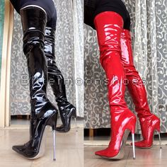 108.00$  Watch now - http://alit3f.worldwells.pw/go.php?t=32603494730 - 18 cm high heel Knee Boots sexy hip extension metal pointed with pole dancing queen Zapatillas Extreme Pull Strange shoes 108.00$