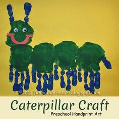 Too Cute Handprint Caterpillar Preschool Craft - Fun Handprint Art Preschool Projects, Daycare Crafts, Classroom Crafts, Craft Activities For Kids, Toddler Crafts, Preschool Activities, Kids Crafts, Spring Crafts For Kids, Art For Kids
