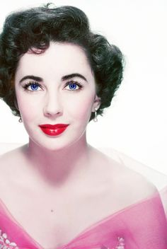 "Elizabeth Taylor (ca. 1955). ""Elizabeth Taylor's eyes were a deep blue that appeared violet and stunned those who met her in person, with a mutation that gave Taylor double eyelashes"""