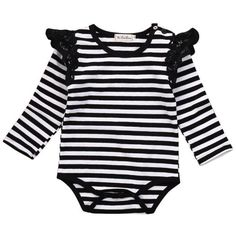 Girls black and white stripe romper with lace frill sleeves. Stellar & Me