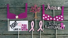 Check out this item in my Etsy shop https://www.etsy.com/listing/243102987/breast-cancer-inspired-photo-booth-props