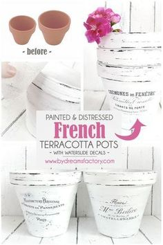 DIY painted and distressed French terracotta pots - Dreams F . - Do it yourself - DIY painted and distressed French terracotta pots – Dreams Factory Source by - Painted Flower Pots, Painted Pots, Clay Pot Crafts, Diy Crafts, Decor Crafts, Pots D'argile, Diy Vintage, Fleurs Diy, Aromatic Herbs