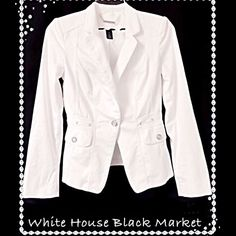 NWT 200$ WHBM FITTED CASUAL/DRESSY BLAZER 00-2 BRAND NEW WITH TAGS and ABSOLUTELY STUNNING! Gorgeous White Jacket/Blazer from White House Black Market. Adorned with Beautiful Stitch Detailing throughout and Classy Silver Embellishments! Very Versatile- Elegant for a Dressy Night Out or Perfect to dress up your favorite pair of jeans. Tag Size 00 (WILL FIT SIZE 0/1 AS WELL).  RETAIL 200$  ***FREE*** 2 WHBM BEADED NECKLACES/LIKE NEW White House Black Market Tops