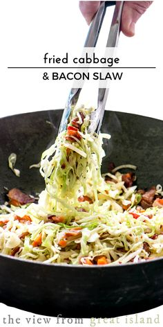 Cabbage and Bacon Slaw Fried Cabbage and Bacon Slaw ~ the best darned coleslaw of the summer!Fried Cabbage and Bacon Slaw ~ the best darned coleslaw of the summer! Slaw Recipes, Bacon Recipes, Cooking Recipes, Healthy Recipes, Bacon Fried Cabbage, Cabbage Slaw, Fried Cabbage Recipes, Cabbage And Carrots Recipe, Shredded Cabbage Recipes