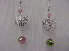 Sterling Silver Hearts Swarovski Crystal & Crackle by GabysGifts, $13.99