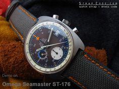 Omega Seamaster Chrono ST-176 on 22mm 1000D Cordura Nylon Military Grey Color Watch Strap, NG [CV2222IWNG018]