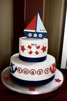 Photo 6 of 9 nice anchor baby shower cake surprising baby shower cakes nautical theme 61 in baby Baby Shower Favors, Baby Shower Cakes, Anchor Baby Showers, Boat Cake, Nautical Cake, Nautical Theme, Food Trucks, Cakes For Boys, Cute Cakes