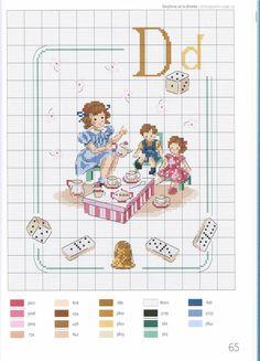 point de croix grille et couleurs de fils abecedaire enfants, lettre d