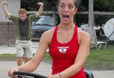 a girl driving a lawn mower making a funny face wearing red lifeguard bikini Big Dogs, Large Dogs, Worlds Biggest Dog, Girls Driving, Sporty Bikini, Lifeguard, Sporty Style, Funny Faces, Worlds Largest