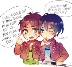 Attack on Titan / Free! ~~ Eren tries to lure Haruka over to the dark side. :: [ art by askchibieren ]