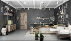 Dark Industrial Bedroom With Concrete Floor