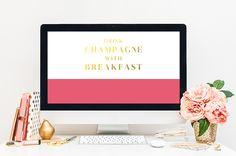 """Free Desktop Wallpaper   www.brandmebeautiful.co.uk  Kate Spade inspired desktop wallpaper - """"Drink Champagne with Breakfast"""""""