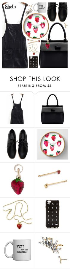 """Good day! Shein Leather pinafore $19"" by pastelneon ❤ liked on Polyvore featuring Links of London, Marc Jacobs, Kenneth Jay Lane, women's clothing, women, female, woman, misses and juniors"