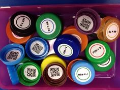 FREE Multiplication and Division QR Code Bottle Cap Labels - self-checking and hands-on learning fun!