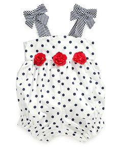 Little Me Baby Romper, Baby Girls Polka Dot Sunsuit - Kids Baby Girl (0-24 months) - Macy's