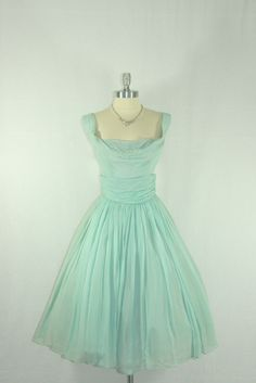 1950's Vintage Dress - Alex Coleman Light Blue Chiffon Sleeveless Full Skirt Flowing Party Frock. $120.00, via Etsy.