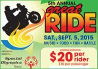 Richardson, TX - Sept. 5, 2015: 5th Annual Great Ride for Special Olympics of Texas.