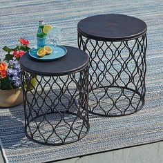 Improvements Taza Metal Garden Tables-Set of 2 ($100) ❤ liked on Polyvore featuring home, outdoors, patio furniture, garden table, metal stool table, metal table, outdoor decorative table, outdoor metal table, outdoor table and stool table