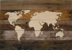 World Map Painting on Pallet Board by PoppyHillPaper on Etsy, $75.00