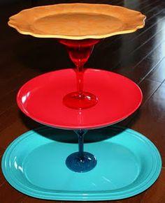 Dollar Store Cupcake Stand! Plates & Glue DIY!