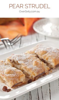 Pear Strudel - With a crispy, golden pastry outside and steaming, tender pear filling, this strudel is the perfect dessert to go with a scoop of vanilla ice cream or a little custard. Ww Recipes, Fruit Recipes, Gourmet Recipes, Cake Recipes, Dessert Recipes, Recipies, Dessert Ideas, Brunch Recipes, Strudel