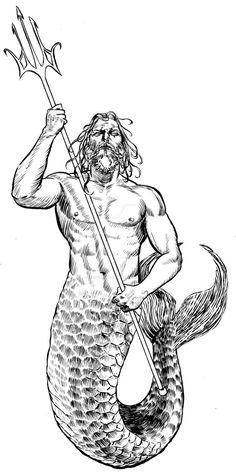 This was the first of two Poseidon pieces, done as a tattoo commission. I like them both, but this one has a little more technique ; ) Not having any tattooing experience myself (applying them, at ...