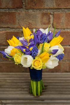 Blue Yellow Spring Wedding Bridal Bouquet Flowers http://www.fullerphotographyweddings.co.uk/