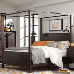 Pine Hill Wood Canopy Bed in Rustic Pine by Magnussen Home